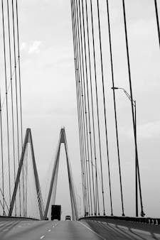 Black and white cable bridge in texas