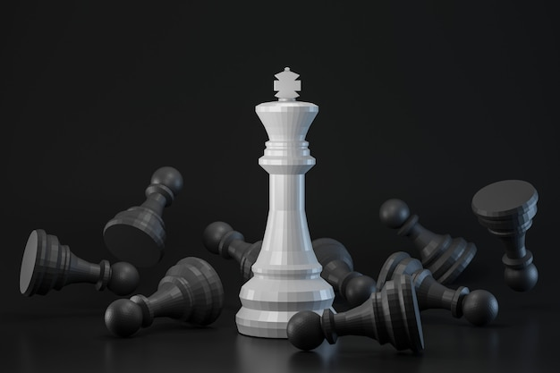 Black and white chess piece on dark wall with strategy or different concept. king of chess and contrast ideas. 3d rendering.