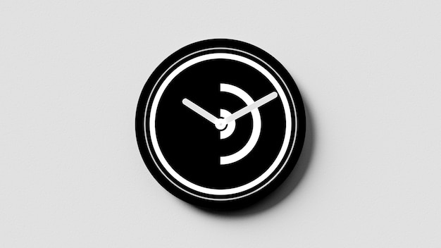 Black and white clock on a white cement wall