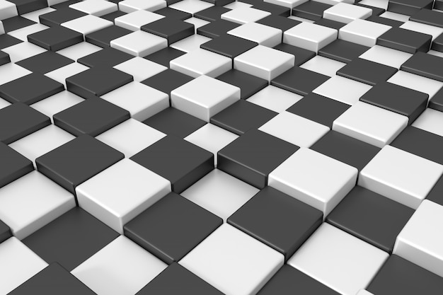 Black and white cubes. 3d rendering.