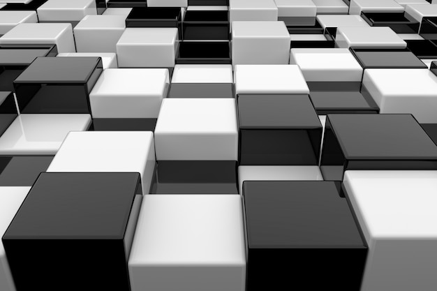 Black and white cubes background