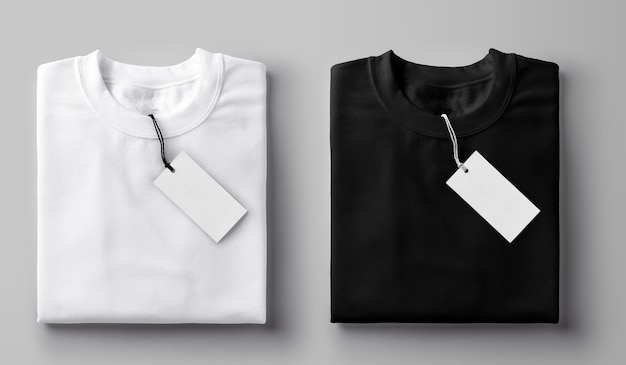 Black and white folded t-shirt with label.