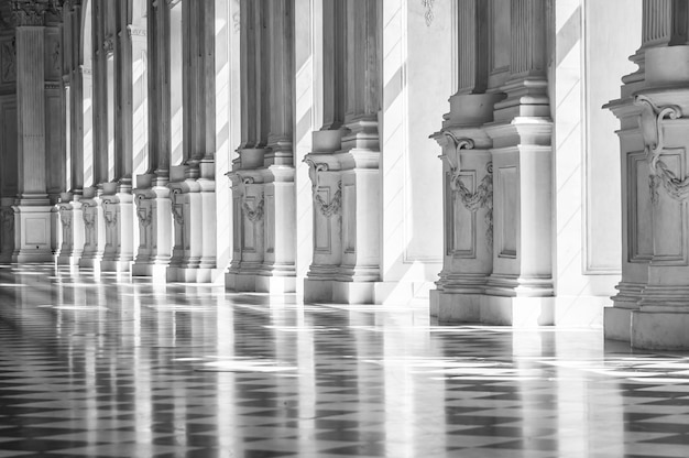 Black and white gallery in a beautiful palace