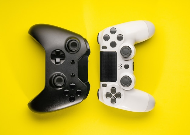 Black and white game controllers