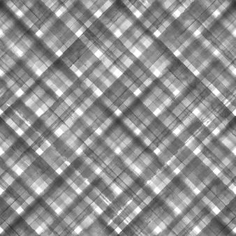 Black and white grunge gingham tartan plaid diagonal abstract geometric seamless pattern background. watercolor hand drawn seamless texture with black stripes. wallpaper, wrapping, textile, fabric