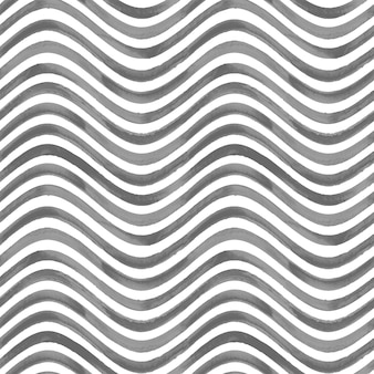 Black and white grunge wavy striped abstract geometric seamless pattern background. watercolor hand drawn seamless texture with black stripes. wallpaper, wrapping, textile, fabric