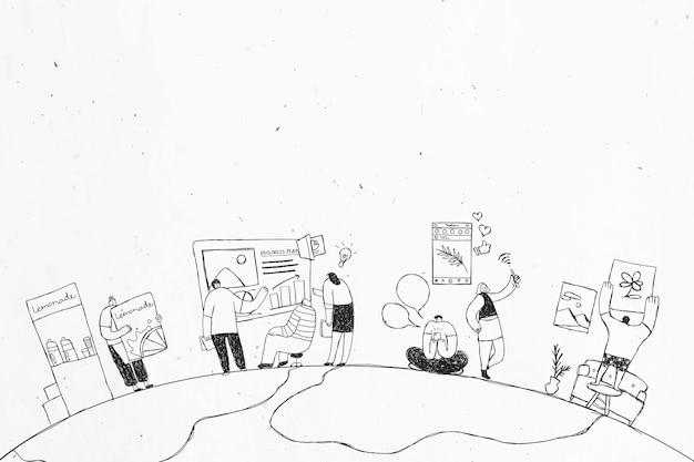Disegno artistico di doodle del team di produzione disegnato a mano in bianco e nero art
