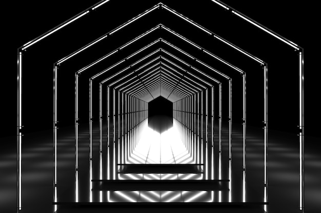 Black and white hexagonal tunnel glossy podium. abstract background. light reflection stage. geometric neon lights. 3d illustration
