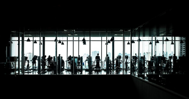 Black and white image of a gym