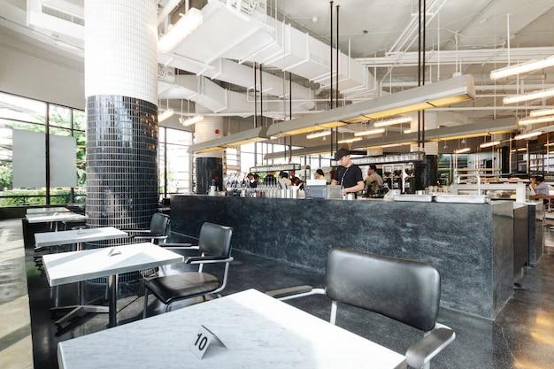 Black and white industrial decorated interior design