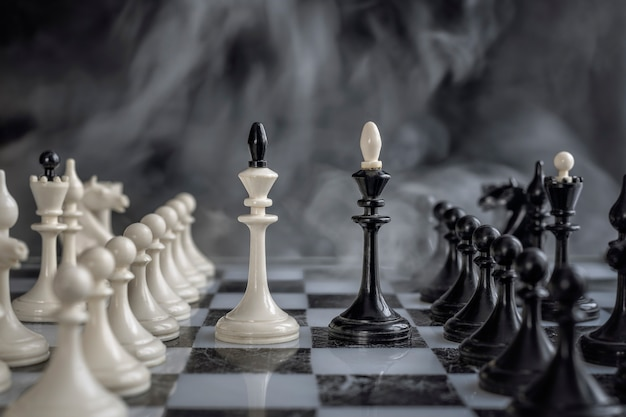 Black and white kings of chess setup on dark background.