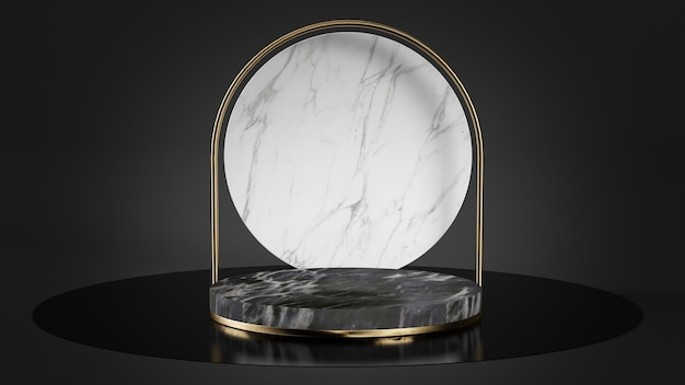 Black and white marble platform with gold shapes pedestal 3d rendering
