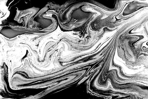 Black and white marbling background. unique artwork texture. marble paint imitation.