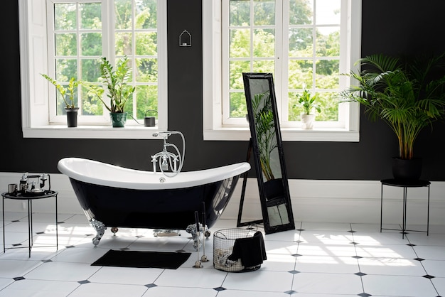 Black and white modern bathroom with silver fittings with large sunny windows. interior design concept