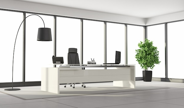 Black and white modern office with large windows and minimalist furniture
