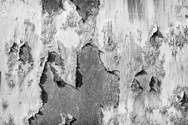 Black and white, old, cracked, rusty, painted metal, texture