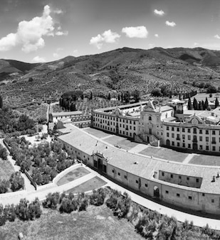 Black and white panoramic aerial view of  pisa charterhouse, calci.