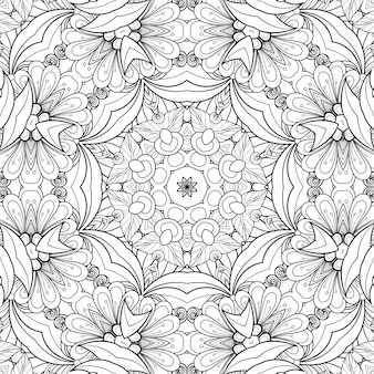 Black and white pattern coloring flowers and leaves. geometric beautiful background paper plant coloring book