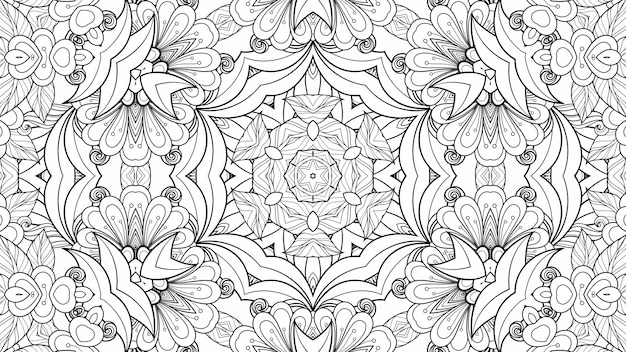 Black and white pattern coloring flowers and leaves. geometric beautiful background paper plant