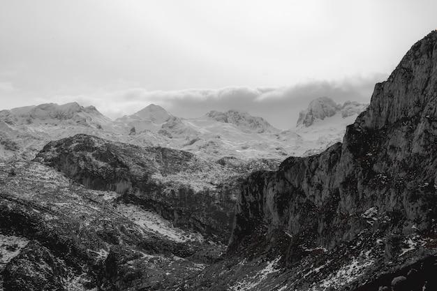 Black and white peak of the mountain