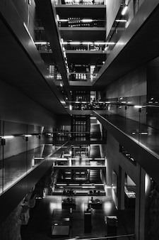 Black and white photo of mall