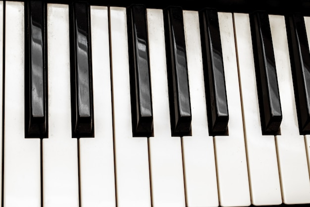 Black and white piano keys. musical instrument.