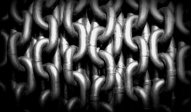 Black and white picture of chains