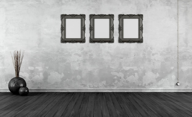 Black and white retro interior with picture frame on  old wall
