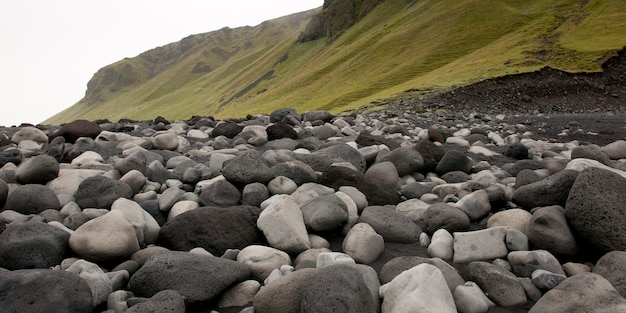 Black and white rocks on the beach, next to grassy slope