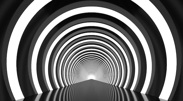 Black and white round tunnel podium abstract background.
