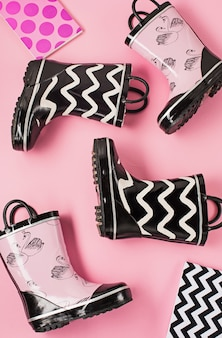 Black and white rubber boots or gardening boots