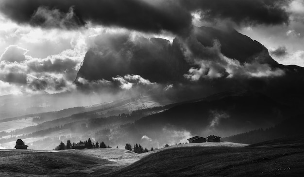 Black and white seiser alm on a dramatic day