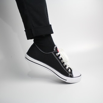Black and white shoes on a white background