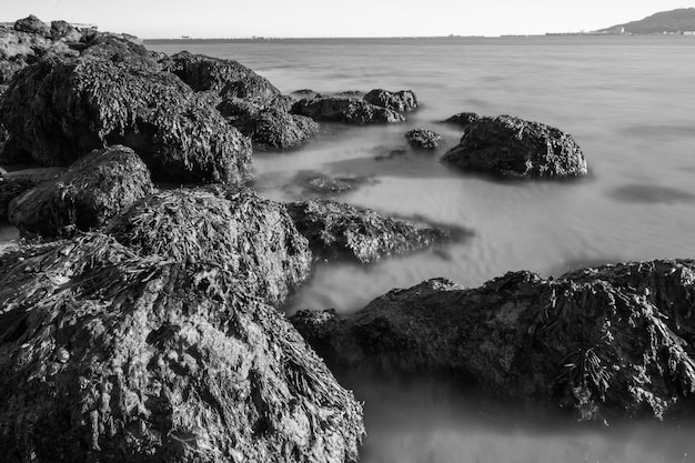 Black and white shot of the rocks and very blurry sea from the sandsfoot beach in dorset, uk