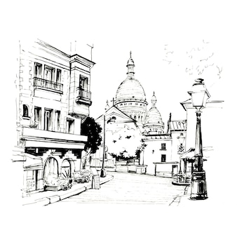 Black and white sketch of the place du tertre with tables of cafe and the sacre-coeur in the morning, quarter montmartre in paris, france