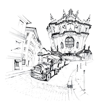 Black and white sketch of tourist train near clerigos church, porto, portugal