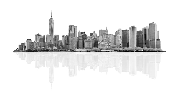 Black and white skyline panorama of downtown financial district and the lower manhattan in new york