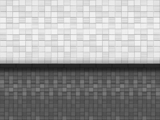 Black and white small mosaic square brick tile wall design background.