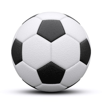 Black and white soccer ball with shadow. isolated on white. 3d render.
