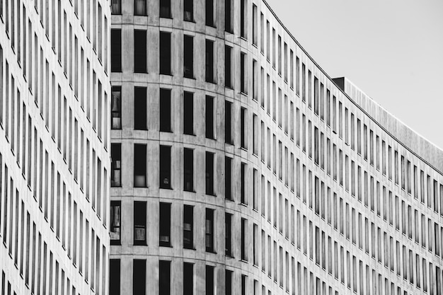 A black and white symmetrical building with copy space and professional and minimalistic look