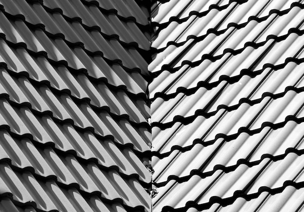 Black and white tile roof pattern monochrome