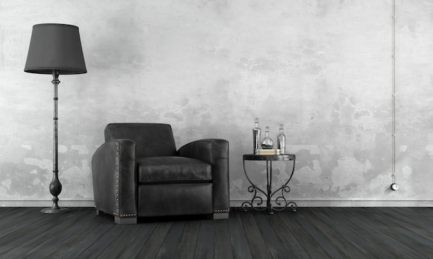 Black and white vintage room with leather armchair and floor lamp