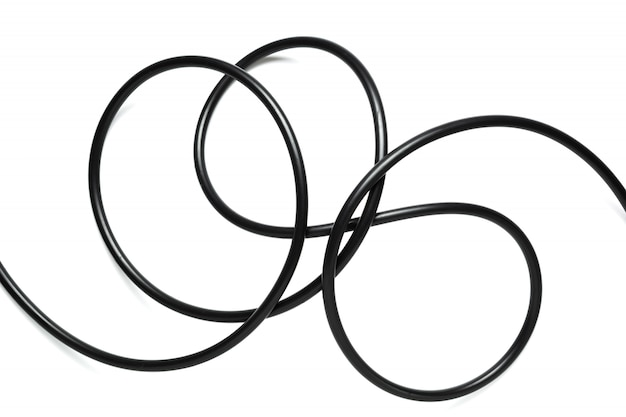 A black wire cable isolated on a white background