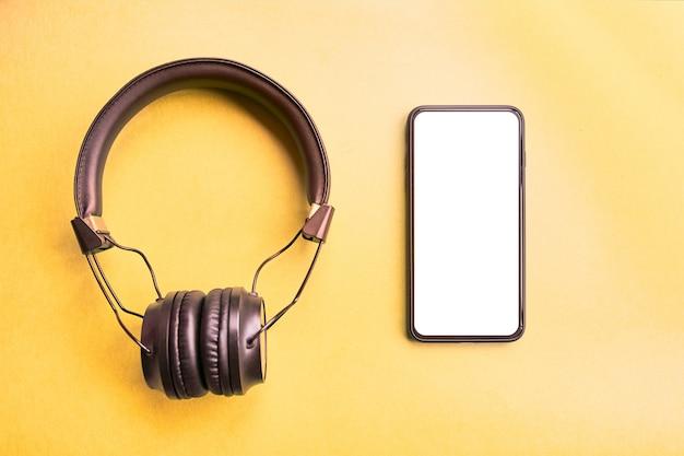 Black wireless headphones for music sound