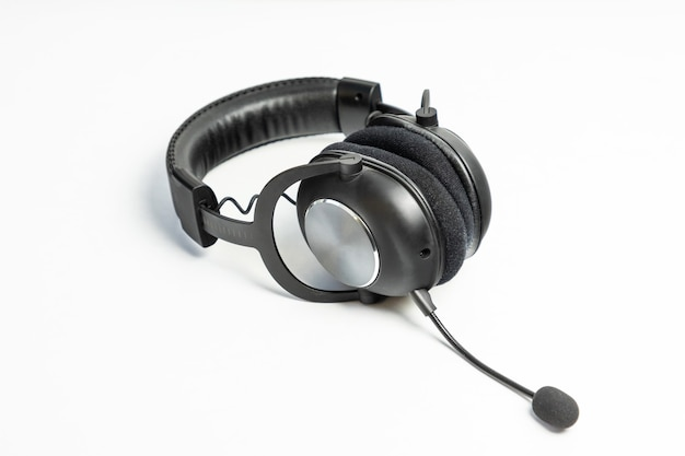 Black wireless headset with a microphone isolated on white