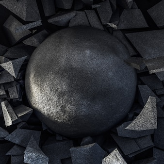 黒と石の爆発と円。