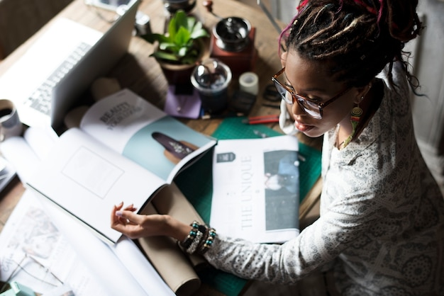 Black woman working on her desk