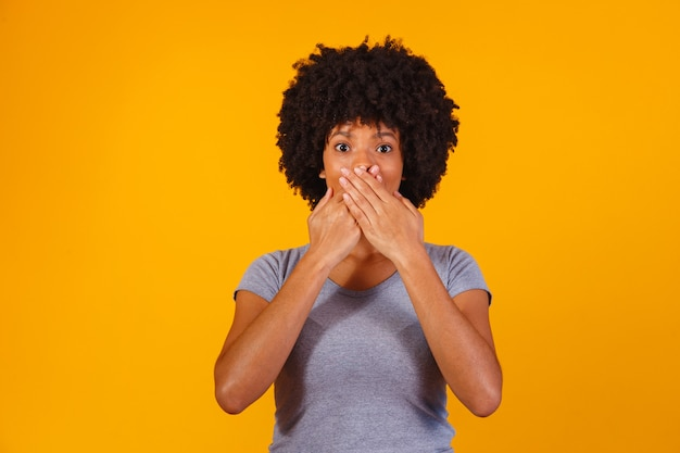 Black woman on yellow with hand in mouth, concept of abuse, feminicide, racism and prejudice