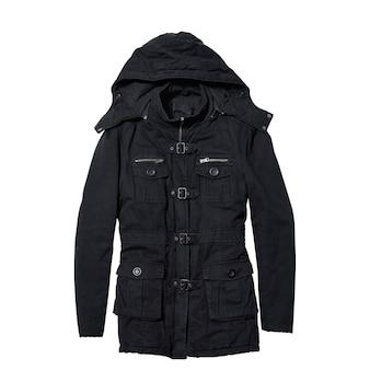 Черное женское пальто с капюшоном изолированы
