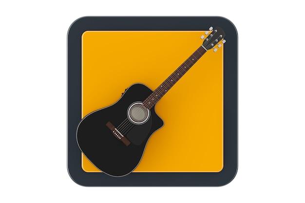 흰색 바탕에 터치포인트 웹 아이콘 버튼으로 검은 나무 어쿠스틱 기타. 3d 렌더링